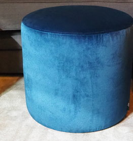 passe partout DJ pouf round  velvet blue