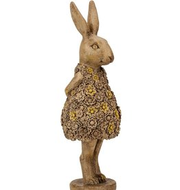 Beeld konijn staand bruin 10x10x32 cm polyresin