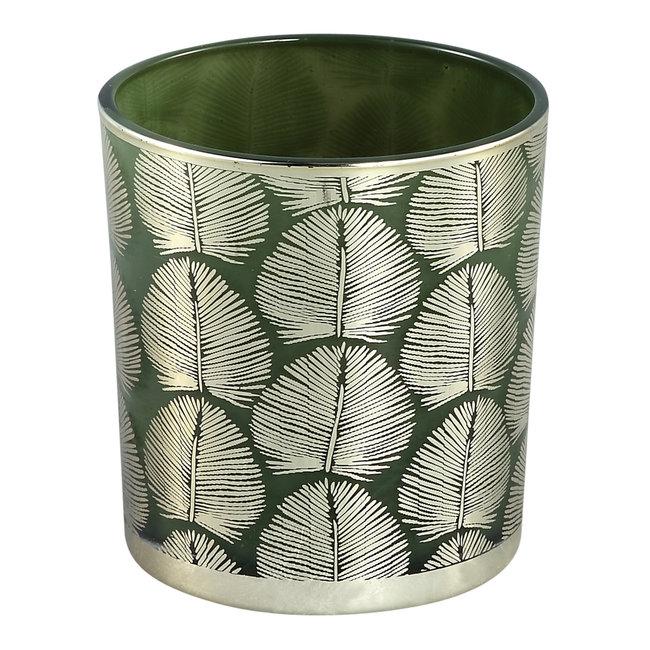Marsh green glass tealight round leave s