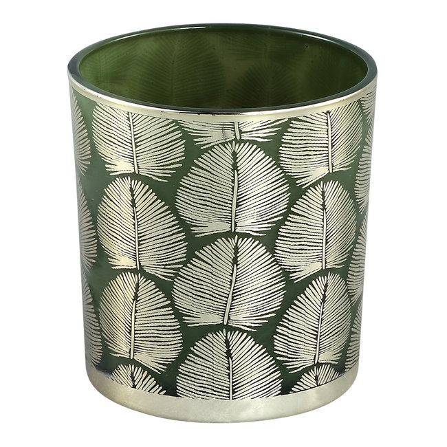 Marsh green glass tealight round gold leaves L
