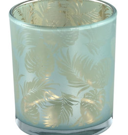 PTMD Marsh Turquoise glass tealight round fern L