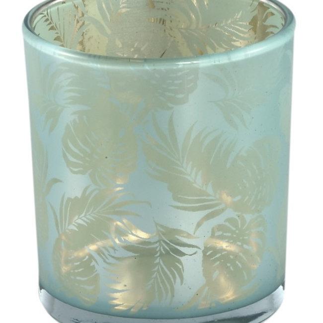 Marsh Turquoise glass tealight round fern L