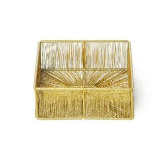 Simla Napkin basket iron Matt gold 18x18x7 cm