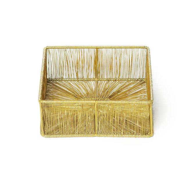 Napkin basket iron Matt gold 18x18x7 cm