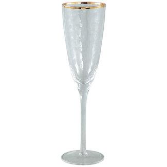 PTMD Mylène clear glass gold border champagne