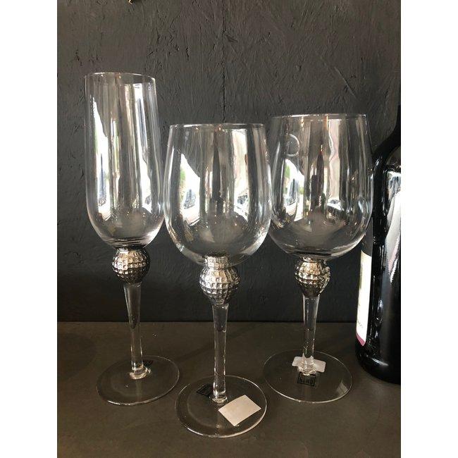 PTMD Witte wijn glas met zilveren ball