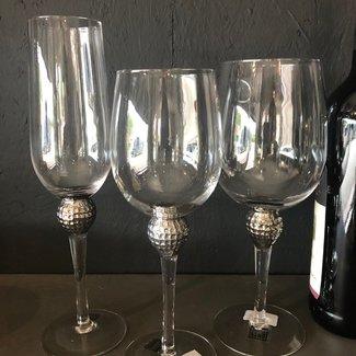 PTMD Glas rode wijn met zilver ball