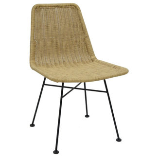 Simla Chair naturel pu wicker , legt steel black