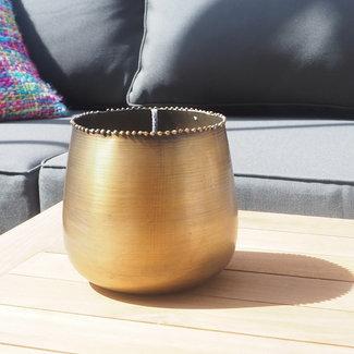 Dekocandle Pot brass antique with wax outdoor black smal