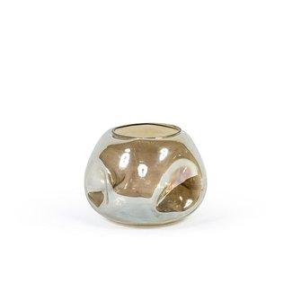 Dekocandle Vase dotted glossy smoke dia 27x20 cm