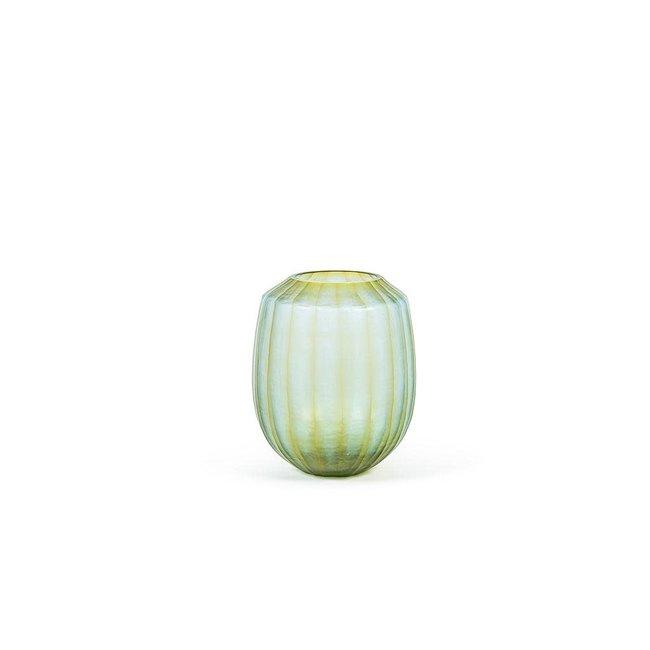 Geribbbelde glazen vaas groen met amber dia 28x34 cm