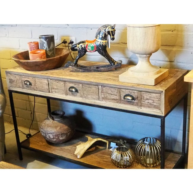 Console 3 schuiven recyclage eik met' rusty frame'