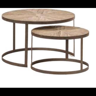 side table round set of 2 reclaim oak rusty metal
