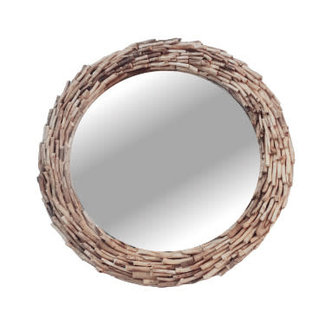 Simla spiegel rond drifthout naturel dia 55 H 10 cm