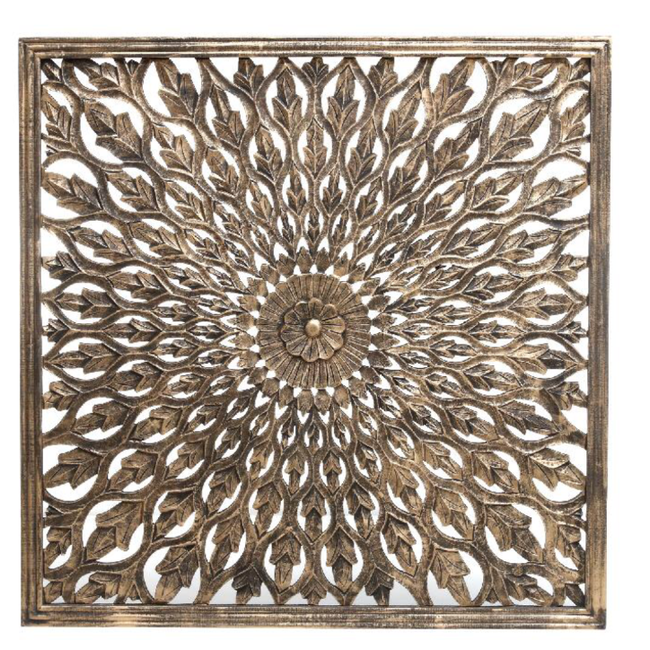 Jalou gold blossom handcarved wallpanel square S