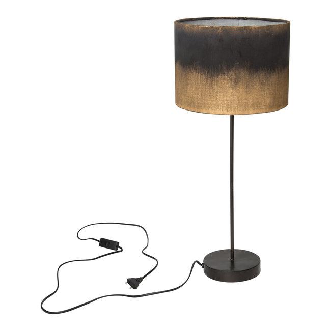 flames black tafellamp met velvet kap rond