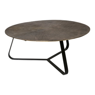 PTMD Kae gold alu blackiron round side table large