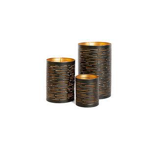Simla Windlicht metaal zwart goud medium