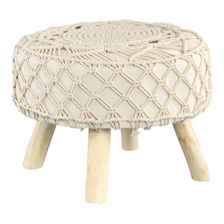 PTMD Jamal Cream cotton/poly stool wooden base low L