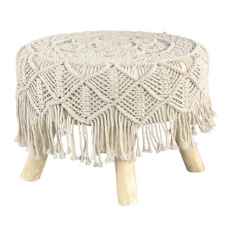 PTMD Jamar Cream cotton / poly stool wooden base tassels S