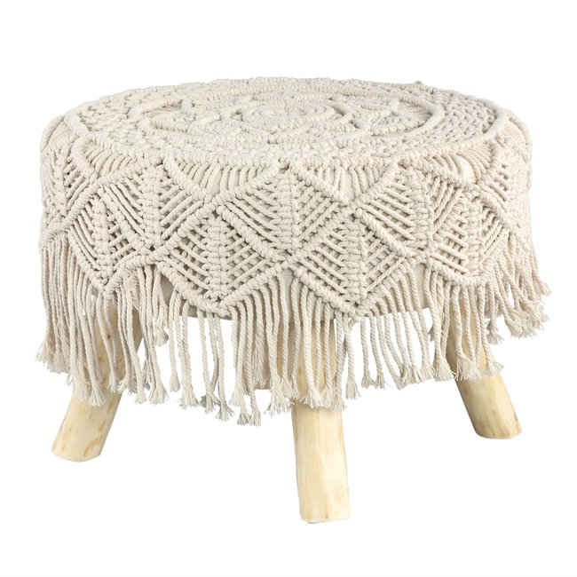Jamar Cream cotton / poly stool wooden base tassels S