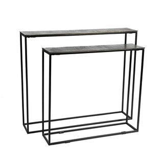 Simla muurtafel zwart metaal + zwart nikkel top 80x20x71 cm