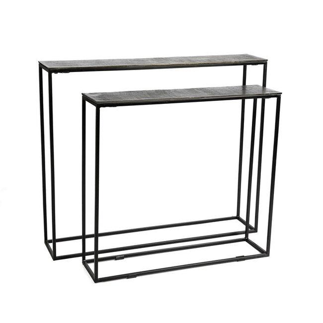 muurtafel zwart metaal + zwart nikkel top 80x20x71 cm