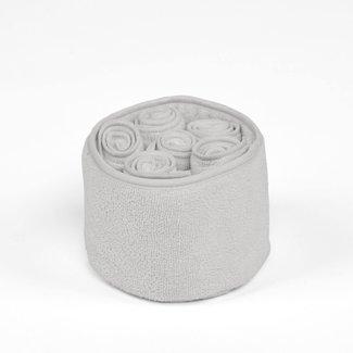 Simla mandje met 6 handdoekjes polyamide lichtgrijs