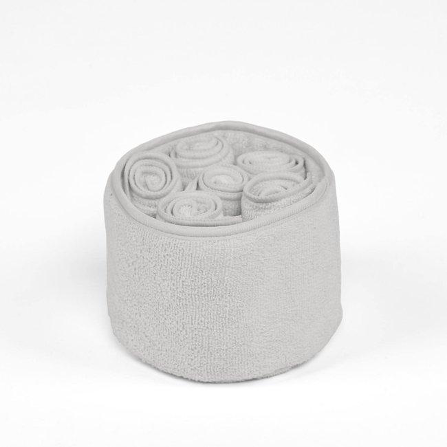 mandje met 6 handdoekjes polyamide lichtgrijs