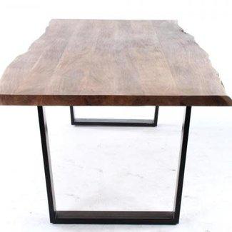 Castle line tafel Kaz 240, black iron leg acacia wood