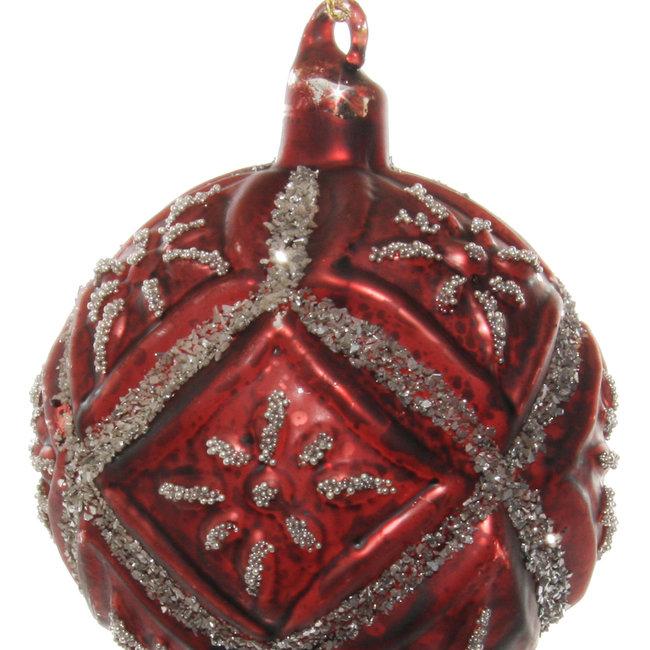 glass floral ball antique burgundy silver glitter 8 cm