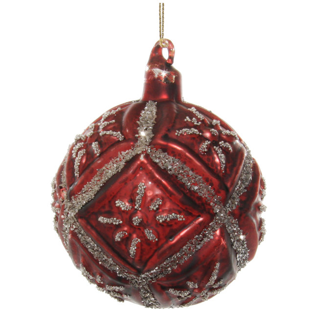 shishi glass floral ball antique burgundy silver glitter 8 cm
