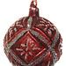 shishi glass floral ball antique burgundy silver glitter 8 cm