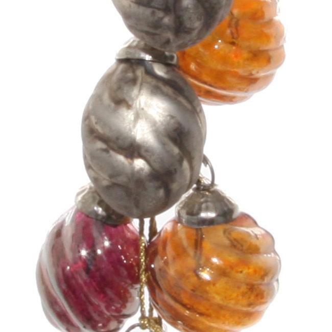 shishi Glass ornaments x8 hanger purple  silver orange 2.5 cm