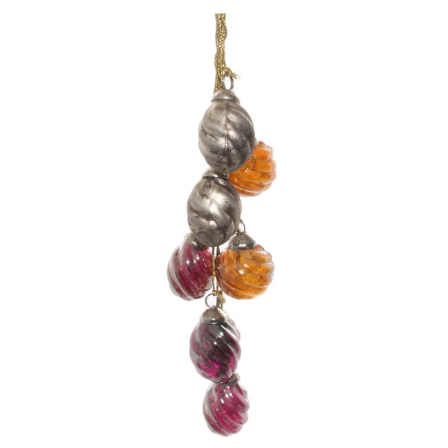 shishi Glass ornaments x8 hanger purple  silver orange 2.5 cm