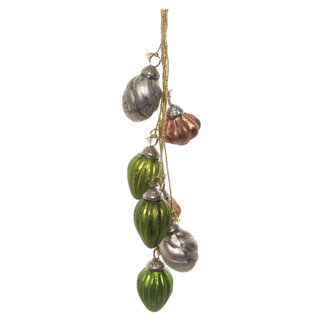 shishi glass ornaments x8 hanger green grey pink 2,5 cm