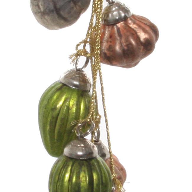 glass ornaments x8 hanger green grey pink 2,5 cm