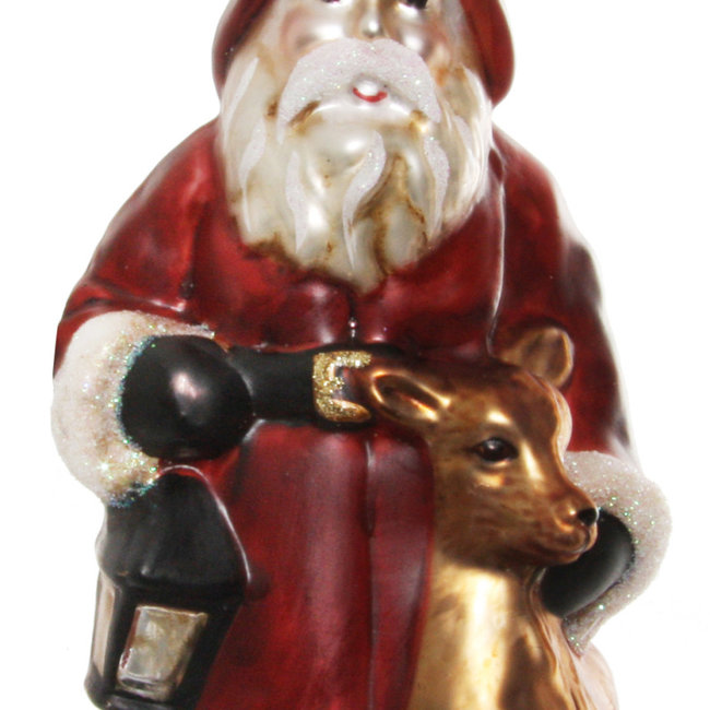 glass santa with deer aged red gold 15 cm