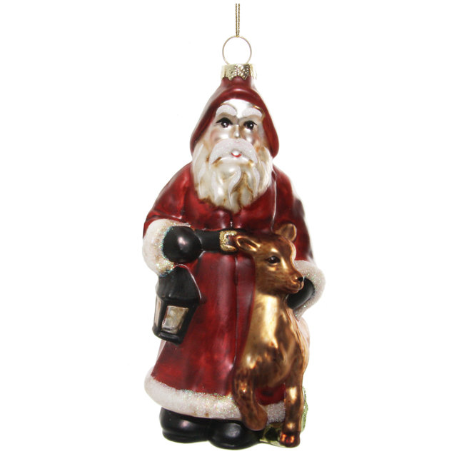 shishi glass santa with deer aged red gold 15 cm