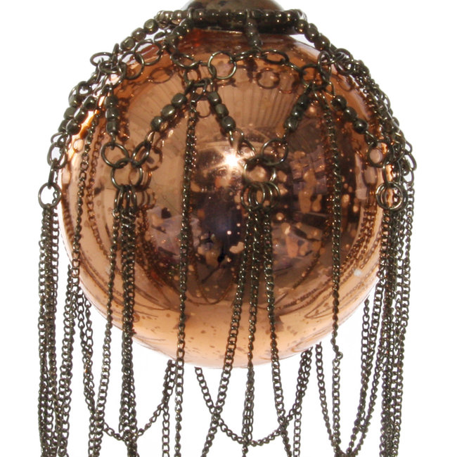 glass bal with chain antiqe copper 7,5 cm
