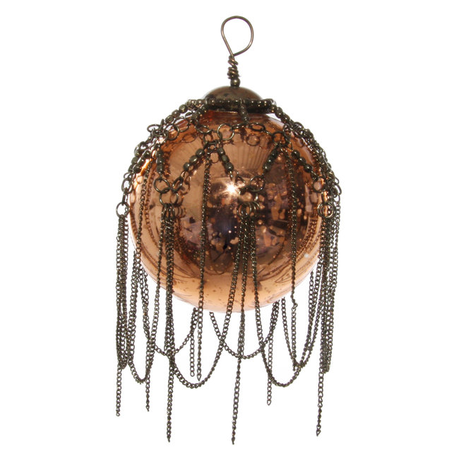 shishi glass bal with chain antiqe copper 7,5 cm