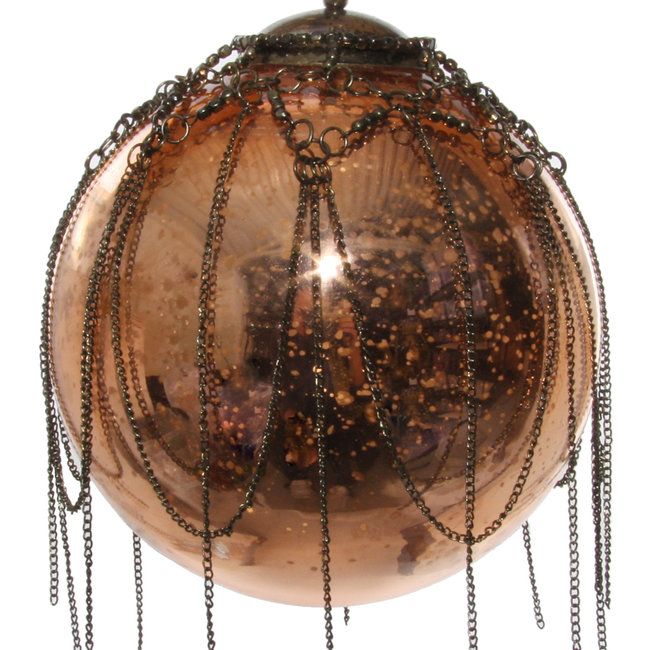 glass ball with chain antique copper 12 cm