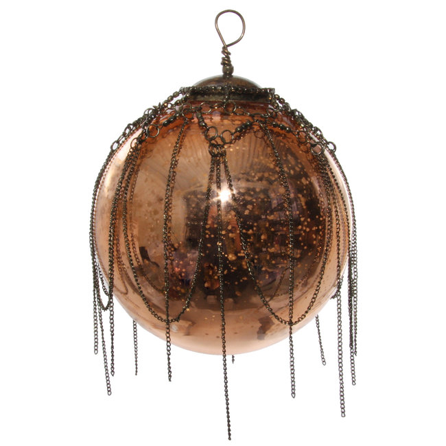 shishi glass ball with chain antique copper 12 cm