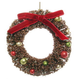 shishi Wreath ornament with velvet bow red gold 12 cm