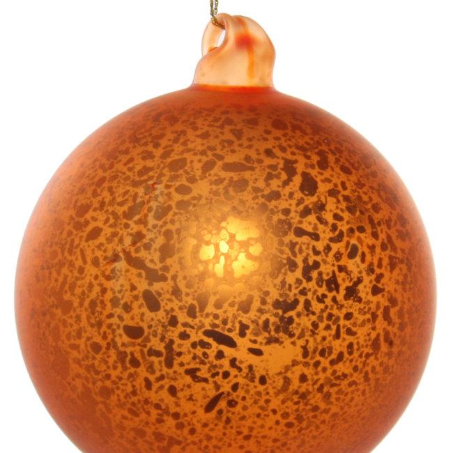 Glass ball antique mat orange 8 cm