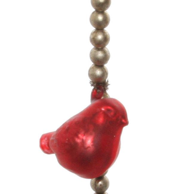 glass bird bead garlans red silver 180 cm