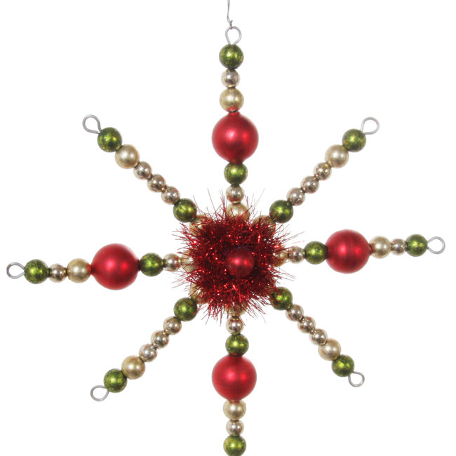 Bead snowflake red green gold 16 cm