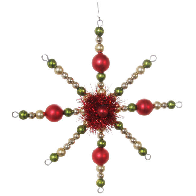 shishi Bead snowflake red green gold 16 cm