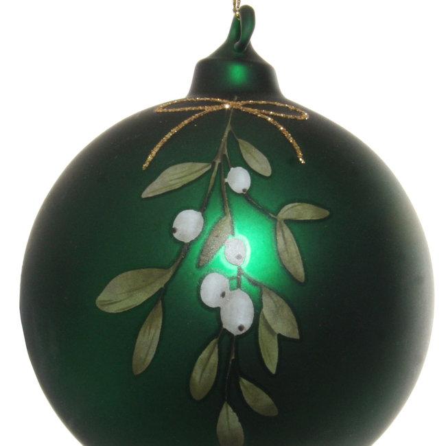 glass ball mat green mistletoe 8 cm