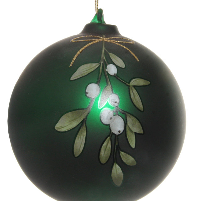 glass ball mat green mistletoe 10 cm
